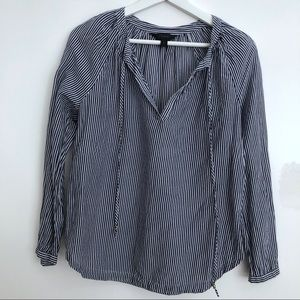 J. Crew navy and white pinstriped blouse